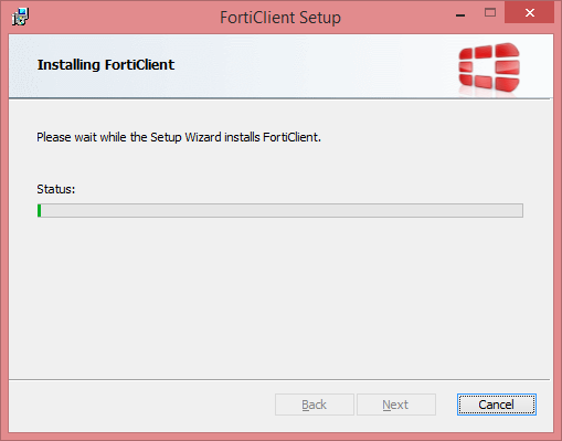 FortiClient Setup Installation Status