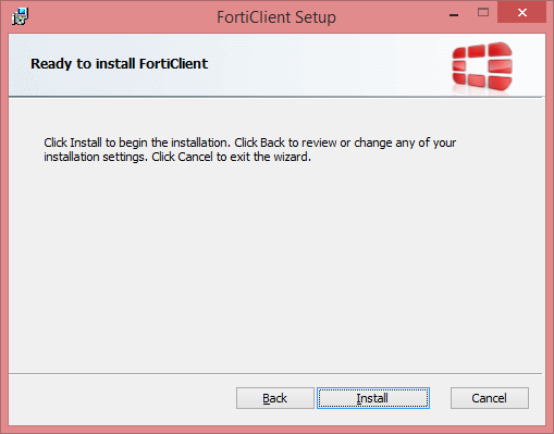 FortiClient Setup Ready to Install