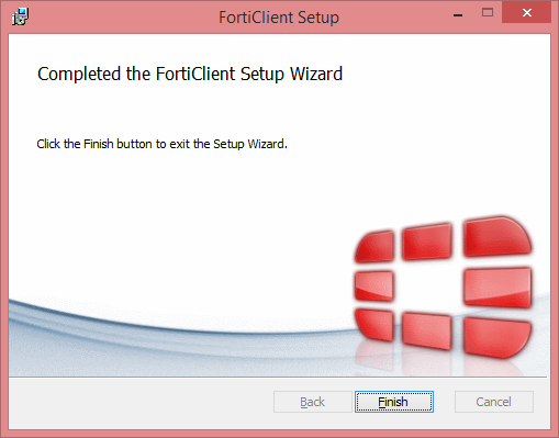 FortiClient Setup Completion Window