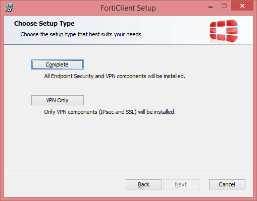 FortiClient Setup Software Selection
