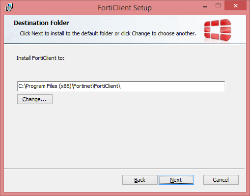 FortiClient Setup Select Destination