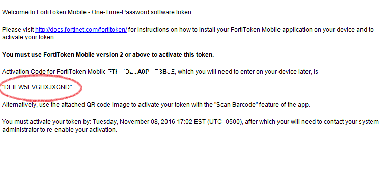 FortiToken Mobile Activation Code Preview