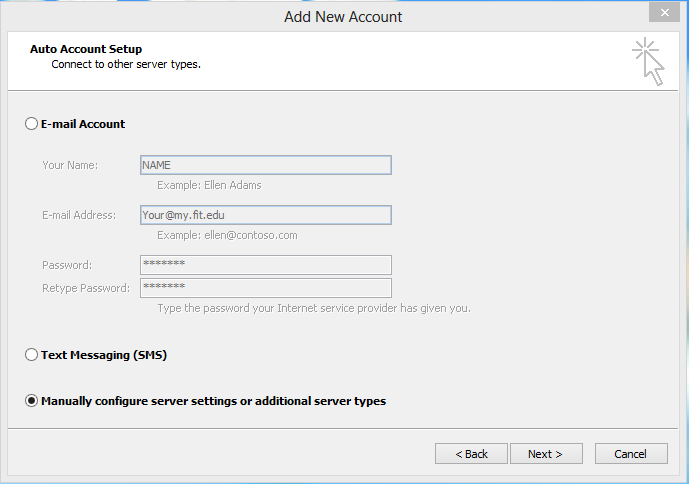 Enter Email and Password, Select Manually configure server settings