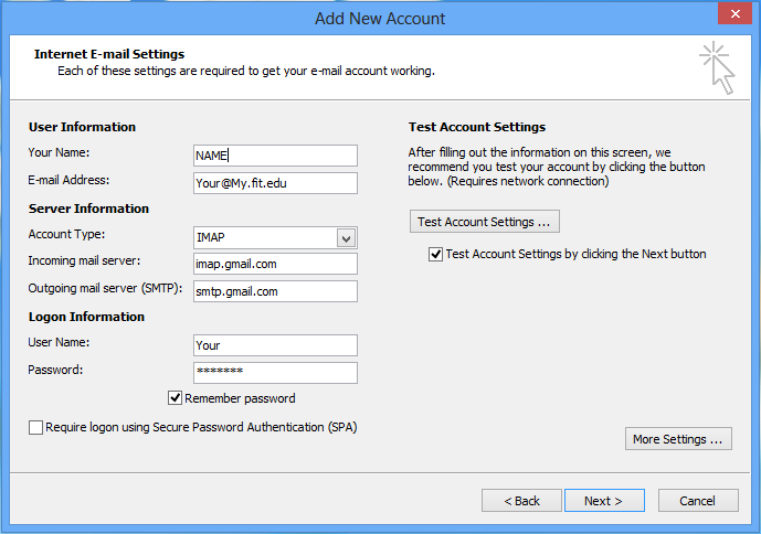 input mail servers along with login and user information