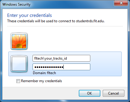 Remote Desktop - StudentRDS.fit.edu - Entering Credentials