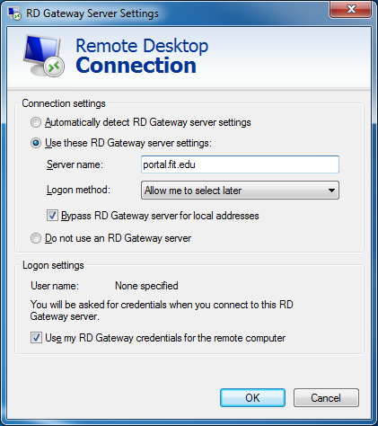 Remote Desktop - StudentRDS.fit.edu - Gateway settings
